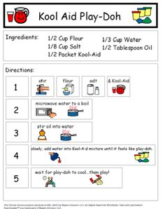 Healthy Snacks Discover Kool-Aid Play Doh: Recipe and Comprehension Sheet FREE Visual recipe for making Kool Aid Play-Doh! Gillies I thought of you when I saw this.would be good for your Life Skills class Life Skills Activities, Life Skills Classroom, Autism Classroom, Sensory Activities, Preschool Classroom, Coping Skills, Sensory Play, Classroom Activities, Preschool Activities