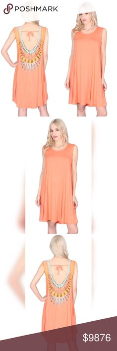 Peach Dress Made in the USA 🇺🇸 Made in the USA 95% Rayon 5% Spandex Super soft and swingy with stunning back detail Great for Spring or warm vacation destination! Hand wash lay flat to dry No Trades or PayPal Discount only if Bundled Dresses