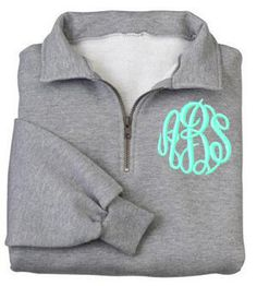 Monogrammed Sweatshirt Quarter Zip Pullover by MadAboutMonograms Oxford grey Turquoise thread Circle style font Small size