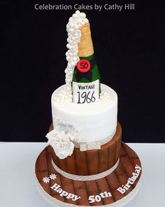 Champagne bottle 50th birthday cake