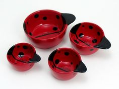 The ceramic ladybug measuring cup set measures in 1/4,1/3, 1/2, and 1 cup increments.