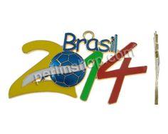 Zinklegierung Anhänger, Zahl, goldfarben plattiert, 2014 Brasilien Weltmeisterschaft Geschenk & Emaille, frei von Nickel, Blei & Kadmium, 95...