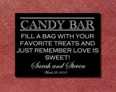 Modern Printable Wedding Candy Bar Sign
