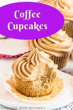 Coffee cupcakes with espresso buttercream frosting are a coffee-lover's dream dessert. Soft and fluffy homemade coffee-flavored cake gets topped with creamy from scratch buttercream. This recipe is a must for anyone who loves their morning cup of coffee! The cupcakes are irresistible!
