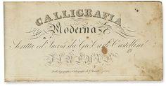 CASTELLINI, GIOVANNI CARLO. Calligrafia Moderna. Engraved title and 15 plates. Oblong tall 8vo, Florence: V. Batelli, 1823