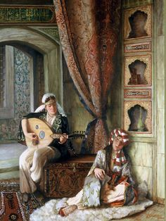 by Turkish artist Kamil Aslanger. Relaxing with the sound of music. No ear-splitting speakers, no DVDs, just soft live music. That's how uncomplicated life was in the yester years. Classic Paintings, Beautiful Paintings, Middle Eastern Art, Arabian Art, Academic Art, Turkish Art, Historical Art, Foto Art, Arabian Nights