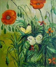 Van Gogh Poppies and Butterflies Repro, Hand Painted Oil Painting, Vincent Van Gogh, Ebay Watches, Butterfly Crafts, Brush Strokes, Painting Techniques, Digital Image, Poppies, The Incredibles, Hand Painted