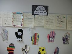 Missing mitten - students do descriptive writing about the mitten they decorated, and then other students use the clues to decide whose is whose.
