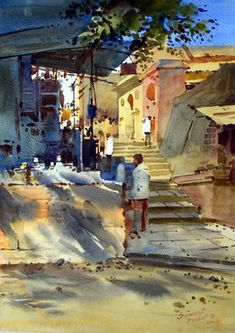 Kai Fine Art is an art website, shows painting and illustration works all over the world. Watercolor Architecture, Watercolor Landscape, Landscape Paintings, Scenery Paintings, Indian Paintings, Sketching Techniques, Watercolor Techniques, Painting Corner, Watercolor Artists