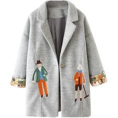Gray Lapel Embroidery Pattern Long Sleeve Woolen Cocoon Coat (4.895 RUB) ❤ liked on Polyvore featuring outerwear, coats, grey cocoon coat, gray wool coat, gray coat, wool coat and gray cocoon coat