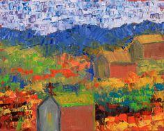 "Daily Painters Of Colorado: ""Old Town"" Original Palette Knife Landscape Painting by Colorado Impressionist Judith Babcock"