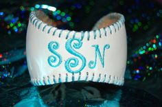 Monogrammed repurposed baseball cuff bracelet by SportBuds on Etsy, $20.00