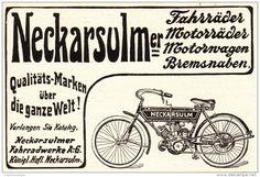 Original-Werbung/ Anzeige 1909 - NECKARSULMER FAHRRÄDER / MOTORRÄDER / MOTORWAGEN  - ca. 80 x 60 mm