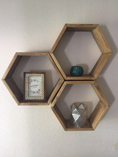 Set of three, wood hexagon shelves, hexagon shelf, geometric shelf, wall hanging, wall decor, honeycomb by fredandmarie on Etsy https://www.etsy.com/listing/248871929/set-of-three-wood-hexagon-shelves