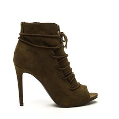 GREEN Slit Down Faux Suede Lace-Up Booties ($35) ❤ liked on Polyvore featuring shoes, boots, ankle booties, ankle boots, green, high heel booties, high heel stilettos, lace up ankle boots, lace up boots and peep toe booties