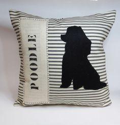 Poodle Silhouette Pillow - Decorative Accent Pillow Cushion Cover - Toy Poodle via Etsy