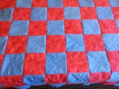 Backside of Flannel and Minky Baby Quilt Www.babyrificgifts.com