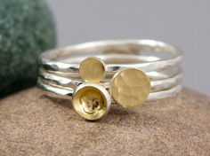 Hammered Gold Dot and Cup Ring Set 18k Gold and Sterling Silver by LichenAndLychee, $98.00