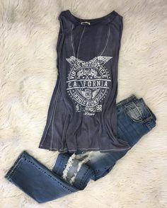 Cali V I B E S   Distressed Muscle Tee  Kris Jeans