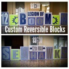 Seattle Seahawks Legion of Boom 12th Man Home Decor- Custom Reversible Wooden Block Set by BLOCKERZ on Etsy
