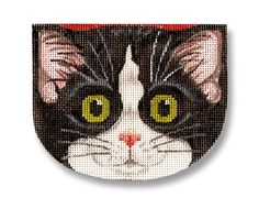 "Needlepoint cat canvas - Adorable black and white tuxedo cat face as a small purse. 4 1/2"" across 18 mesh $48.00"