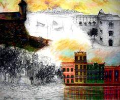 Painel de Pintura,  técnica mista sobre tela 100x140 2012