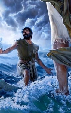 Peter, walking on water toward Jesus, gets distracted with fear and doubt and starts to sink - best bible art