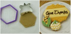 fancy plaque cookie cut with a butterfly cookie cutter