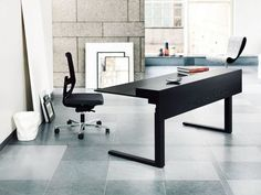 Modern desks with black oak