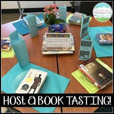 a Classroom Book Tasting! Host a Classroom Book Tasting! Your students will love sampling new books with this fun lesson!Host a Classroom Book Tasting! Your students will love sampling new books with this fun lesson! Library Activities, Reading Activities, Teaching Reading, Teaching Ideas, Guided Reading, Team Teaching, Reading Projects, Teaching Time, Reading Art