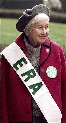 """Flora Crater of """"Craters Raiders"""", a feminist and political activist who waged a decades-long campaign to persuade Congress and the Virginia legislature to pass the Equal Rights Amendment. Ms. Crater, founder and editor of the Woman Activist newsletter and the Almanac of Virginia Politics, led a group of women known as Crater's Raiders to lobby for the ERA during the 1970s and 1980s. She was still working for the amendment with various organizations until her death in 2009 at the age of 94...."""