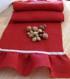Burlap Table Runner with  Ruffles 15 X 60  Red by supplierofdreams, $30.00