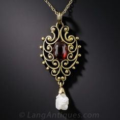 Vintage Garnet and Pearl Pendant by Hayden W. Wheeler - What's New