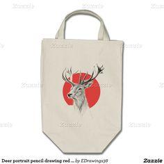 #Deer portrait pencil #drawing #red circle #Tote #bag