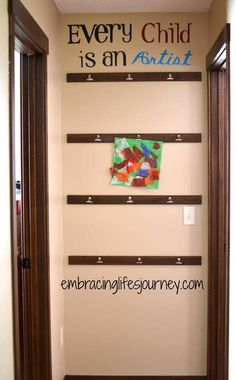 Embracing Life's Journey: Art Wall Display, would love doing this is the little ones room!