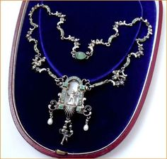 19THCRENAISSANCE Revival Austro Hungarian Silver Enamel Emerald Cherub Necklace | eBay