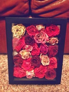 This is a great way to save your wedding bouquet---save the heads of the flowers and frame them in a shadow box.