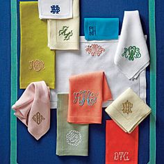"MONOGRAMMED LINENS ""Whether it's bedding, hand towels, or placemats, we Southerners just love to put our initials on things. At Southern Living we're especially fond of New Orleans based company Leontine Linens. Embroidery Designs, Embroidery Monogram Fonts, Embroidery Applique, Machine Embroidery, Embroidery Thread, Eyebrow Embroidery, Embroidery Store, Brother Embroidery, Vintage Embroidery"