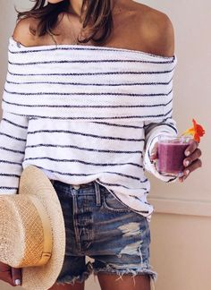 #summer #outfits White Striped Off The Shoulder Top + Ripped Denim Short