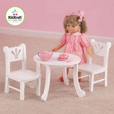 The Lil Doll Table and Chair Set from Kid Kraft is designed to match the other popular Lil Doll items. With scallop detailing on the chair backs and sweet queen-Anne like legs on the table, the set is finished off in a clean white finish.