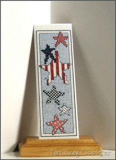 Stars and Stripes - Cross-stitched Bookmark $14.95 #FarAwaydesigns