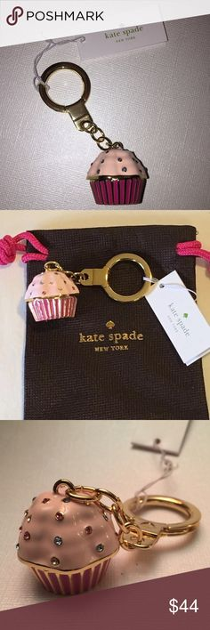 """KATE SPADE JEWELED TAKE THE CAKE KEY FOB CHAIN Love this! Key chain or hang on your favorite bag. Gold-tone Hardware   Multi-Color Glass Crystals   Total Length: 3.75""""   Cupcake Charm: 1.25"""". New with tags and dust bag. kate spade Accessories Key & Card Holders"""