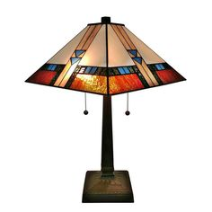 Shop for Amora Lighting Square Tiffany-style Glass Mission Table Lamp. Get free delivery On EVERYTHING* Overstock - Your Online Lamps & Lamp Shades Store! Tiffany Style Table Lamps, Tiffany Lamps, Metal Table Lamps, Table Lamp Sets, Table Desk, Mission Table, Art Deco Lamps, Lamp Shade Store, Stained Glass Lamps