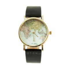 Zegarek z czarnym paskiem mapa świata