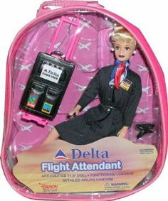 Delta Flight Attendant by Flight Attendant Dolls. $15.96. Top Quality Children's Item.. Made with the Best Quality Material with your child in mind.. Comes in blond & brunette -- color may vary. Doll is 11-1/2 tall and is dressed in an officially-licensed Delta Airlines flight attendant uniform. Includes a rolling suitcase that opens and closes. As a bonus