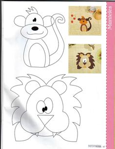 Monkey and lion applique pattern for kids