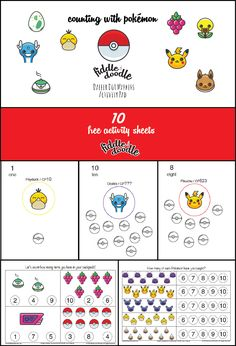 Free Activity Sheets for Dabber Dot Markers - Counting with Pokemon Go - Download from usa.fiddleanddoodle.com