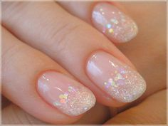 Want some ideas for wedding nail polish designs? This article is a collection of our favorite nail polish designs for your special day. Natural Wedding Nails, Natural Nails, Sparkly Nails, Glitter Nails, Glitter Wedding Nails, Nail Wedding, Wedding Tips, Wedding Makeup, Perfect Nails