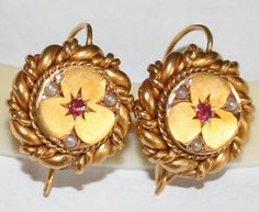 ANTIQUE VICTORIAN R 18K GOLD RUBY PEARL BIG 16mm LOVE KNOT FLOWER EARRINGS c1880