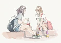 Find images and videos about anime, manga and illustration on We Heart It - the app to get lost in what you love. Anime Best Friends, Friend Anime, Cartoon Kunst, Cartoon Art, Anime Art Girl, Manga Art, Aesthetic Art, Aesthetic Anime, Arte Indie